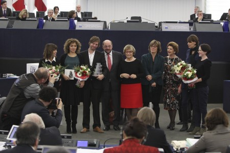 F. MARCIANO, Valeria GOLINO, Felix VAN GROENINGEN, Martin SCHULZ - EP President, Doris PACK, Isabelle DURANT, Commissioner Androulla VASSILIOU, in charge of Education, Culture, Multilingualism and Youth, Clio BARNARD, T. O RIORDAN